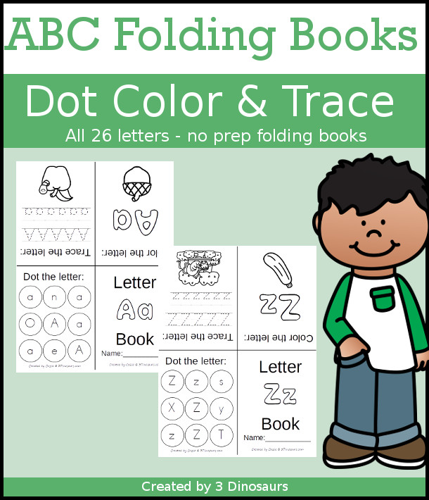 ABC Folding Book: Dot Trace & Color - all 26 letters in fun folding books for kids to use! These are great for a quick review or introduction and make great centers for kids $ - 3Dinosaurs.com