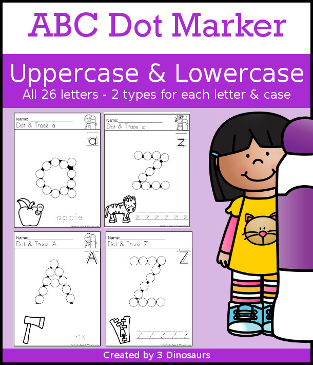 ABC Dot Marker Uppercase & Lowercase Selling set - 78 pages of printables with 2 options for each uppercase and lowercase letter  in black and white no-prep printable each page has a matching ABC picture - 3Dinosaurs.com