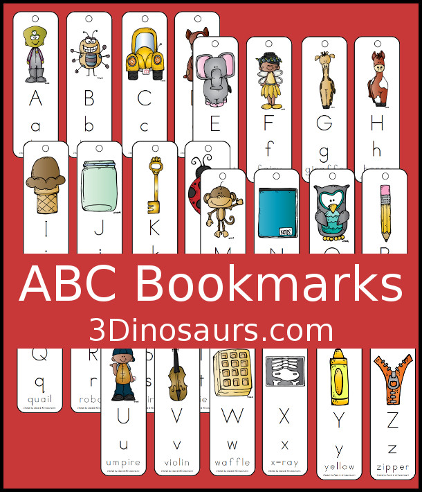 Free ABC Bookmarks - 3Dinosaurs.com