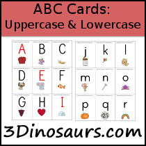 ABC Cards: Uppercase and Lowercase - 3Dinosaurs.com