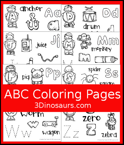 3 Dinosaurs Abc Coloring Pages