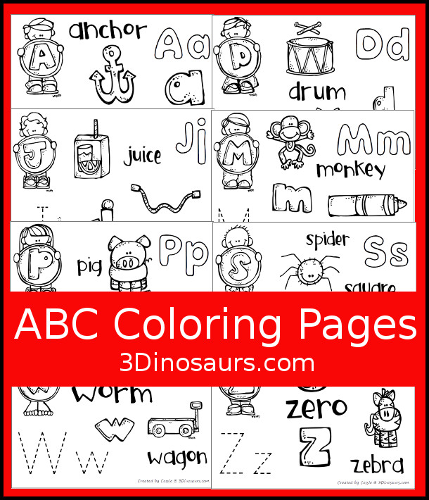 Free ABC Coloring Pages - 1 page for each letter in the ABCS