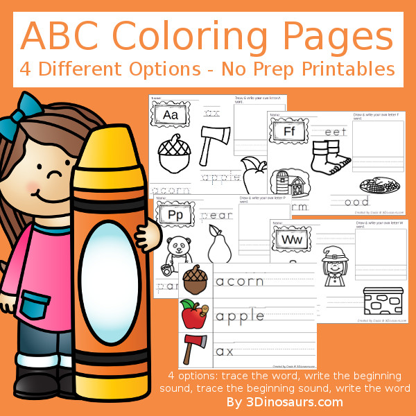 ABC Coloring Pages Selling Set - with 4 pages for coloring and tracing and pocket chart cards that match the coloring pages - 3Dinosaurs.com