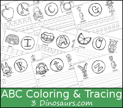 FREE ABC Coloring & Tracing Printable - 2 different types - 3Dinosaurs.com