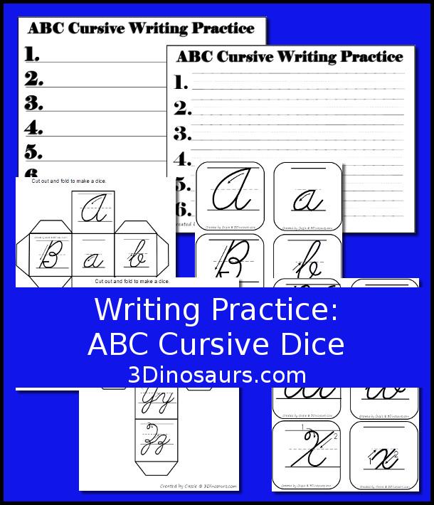 Writing Practice ABC Cursive Dice - 3Dinosaurs.com