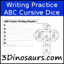 Writing Practice: ABC Cursive Dice