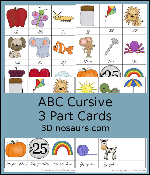 Free ABC Cursive 3 Part Cards - 3Dinosaurs.com