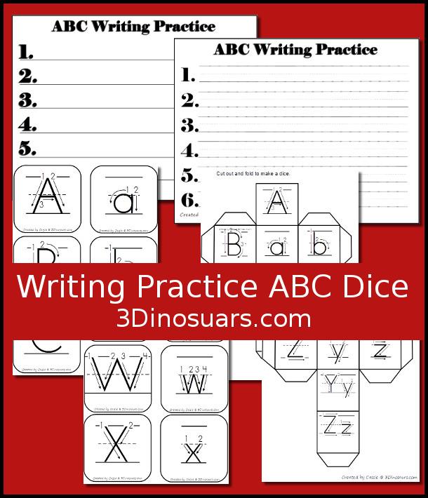 free writing practice abc dice 3dinosaurscom