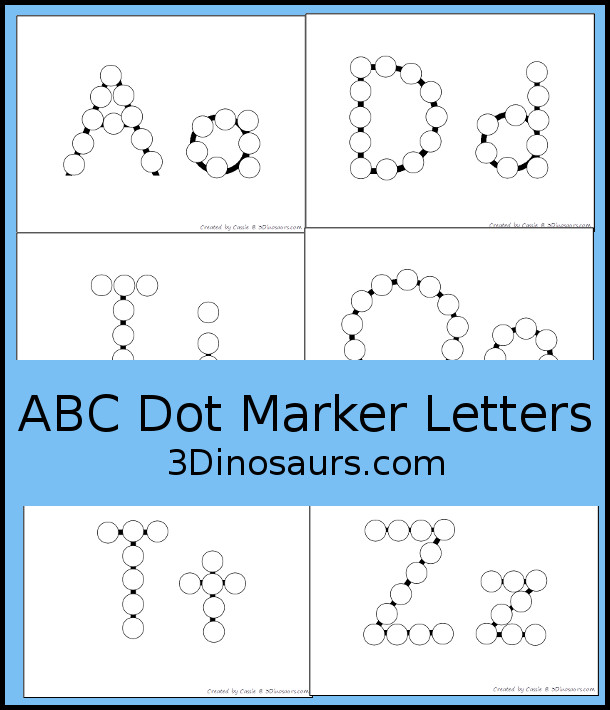 Free No-Prep ABC Dot Marker Letters - all 26 letters together in no-prep mats or single use printable for kids to use to learn uppercase and lowercase letters together - 3Dinosaurs.com