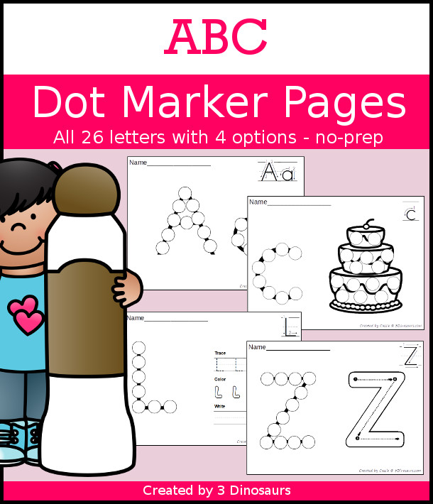 ABC Dot Marker Letter Set - A huge pack of ABC dot marker activities with tracing writing and more for each letter! A great way to work on the alphabet - 3Dinosaurs.com