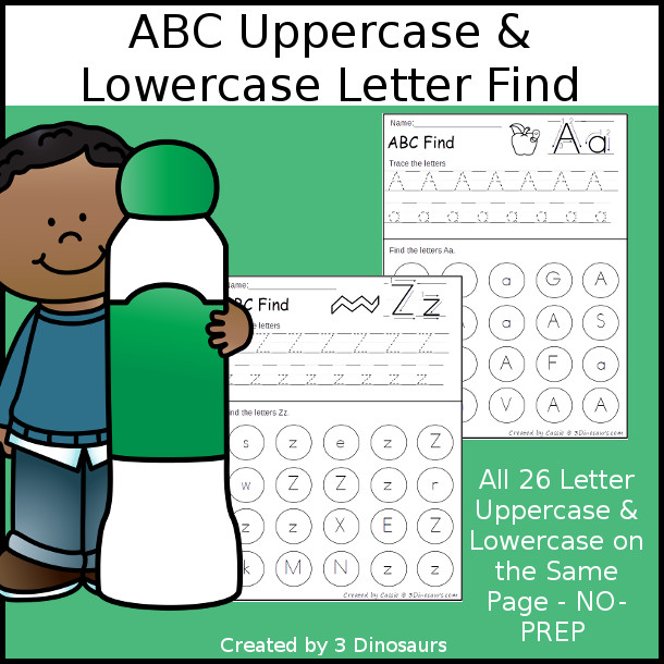 ABC Uppercase & Lowercase Letter Find Printable with tracing $ - 3Dinosaurs.com
