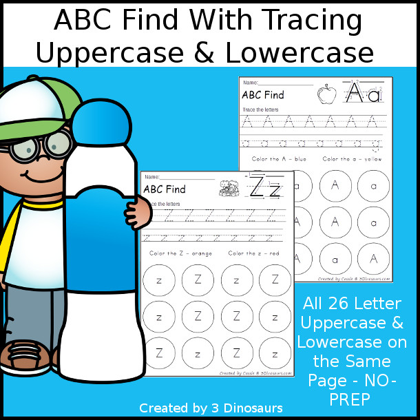 ABC Letter Find Uppercase & Lowercase Printable with tracing - 3Dinosaurs.com
