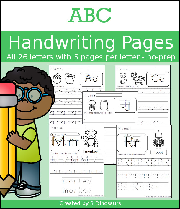 ABC Tracing & Handwriting Selling Set - it has 5 pages for each leter with different types of font sizes and fonts to trace - 3Dinosaurs.com
