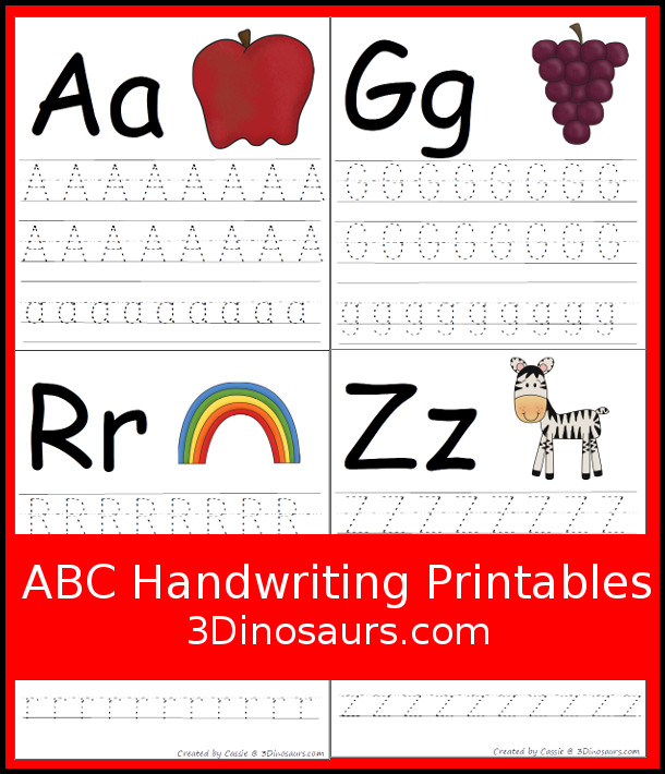 Free ABC Handwriting Printable - single abc tracing page with 26 pages in all - 3Dinosaurs.com