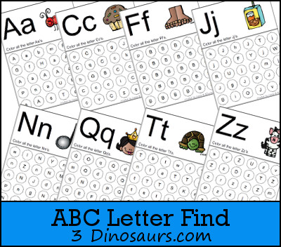 Free Abc Letter Find Printable | 3 Dinosaurs