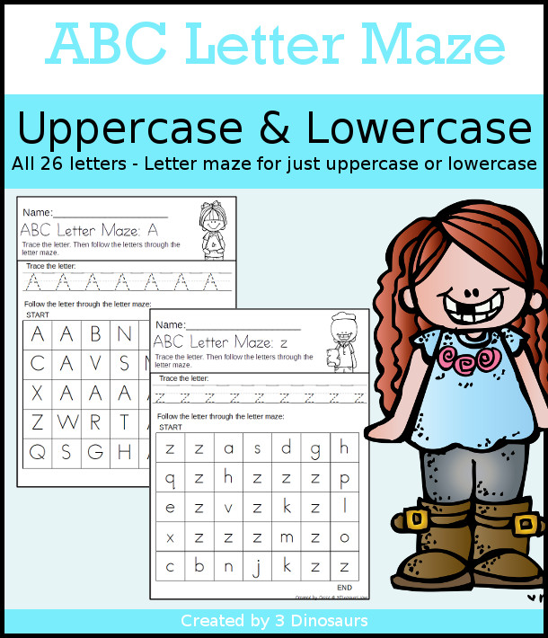 No-Prep ABC Letter Mazes - uppercase and lowercase options with tracing of the letter with a matching letter maze - 3Dinosaurs.com - 3Dinosaurs.com
