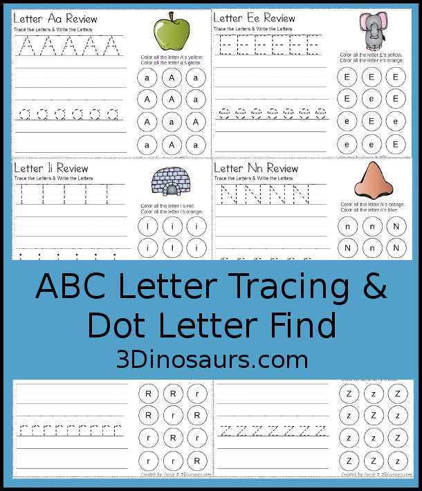Free ABC Letter Tracing & Dot Letter Find Printable - with tracing and writing of uppercase and lowercase letter with letter find for uppercase and lowercase letters for the whole alphabet - 3Dinosaurs.com