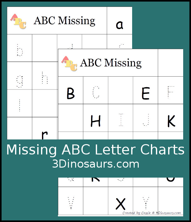 Free Missing ABC Letters Chart printables - 2 charts for uppercase and lowercase - 3Dinosaurs.com