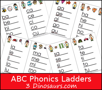 ABC Phonics Ladders - 3Dinosaurs.com