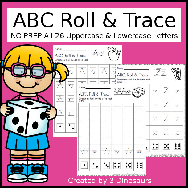 Fun no prep abc roll trace 3 dinosaurs abc roll trace 3 different roll and trace options to use with kids thecheapjerseys Choice Image