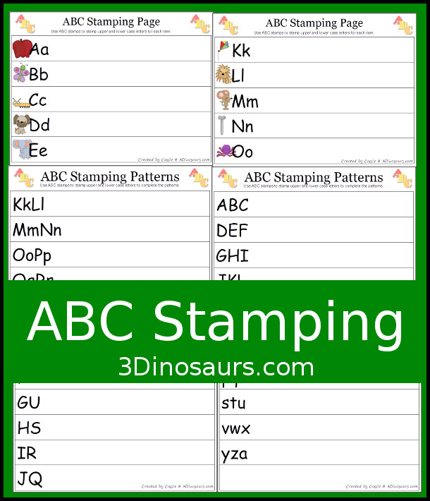 Free ABC Stamping Printables - patterns and uppercase and lowercase - 3Dinosaurs.com