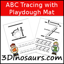 ABC Tracing Pages with Playdough Mat - 3Dinosaurs.com