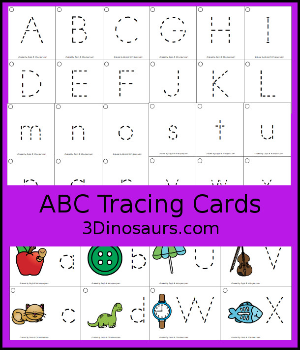 Free ABC Tracing Cards - with uppercase and lower case options with pictures and without pictures- 3Dinosaurs.com