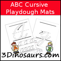 ABC Cursive Tracing Pages with Playdough Mat - 3Dinosaurs.com