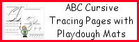 ABC Cursive Tracing Pages with Playdough Mat
