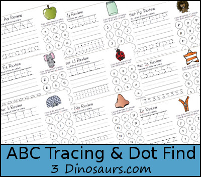 ABC Tracing & Dot Find Printables - 3Dinosaurs.com