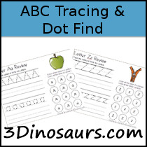 ABC Tracing & Dot Find Printable - 3Dinosaurs.com