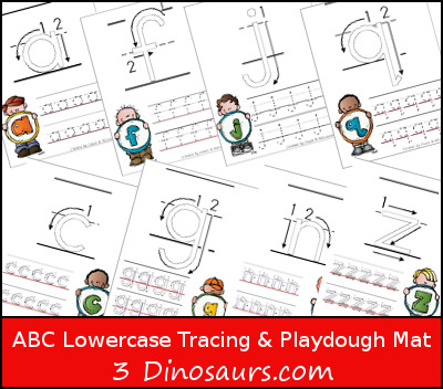 ABC Lower Tracing Pages with Playdough Mat - 3Dinosaurs.com