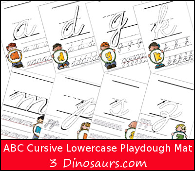 ABC Cursive Lower Tracing Pages with Playdough Mat - 3Dinosaurs.com