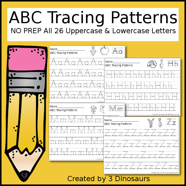 ABC Tracing Patterns - 26 page no prep printable $ - 3Dinosaurs.com