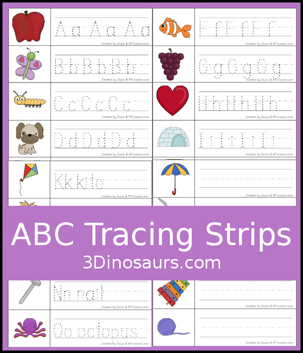 Free ABC Writing Strips Printables - 3 different tracing and writing strips - 3Dinosaurs.com