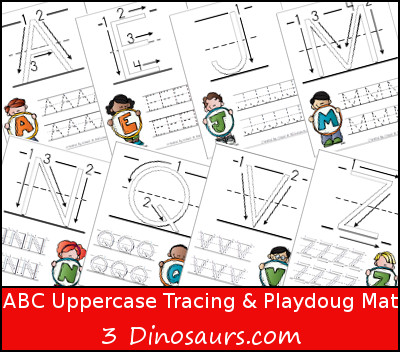 ABC Uppercase Tracing Pages with Playdough Mat - 3Dinosaurs.com