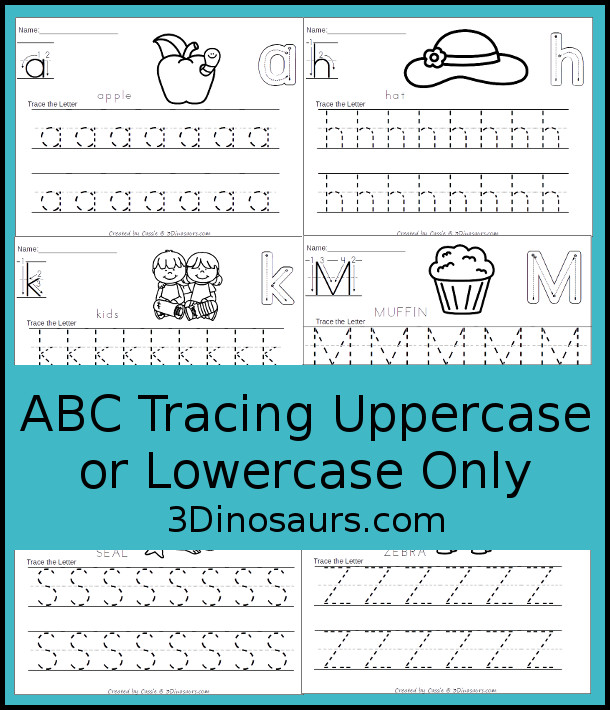 Free No-Prep ABC Tracing Pages Uppercase or Lowercase for the whole Alphabet - 52 pages of printabes for kids to work on the letters they are working on - 3Dinosaurs.com