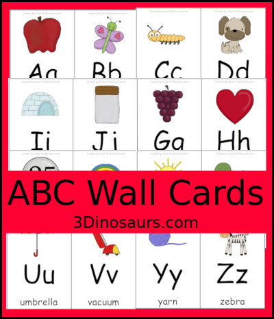 ABC Wall Cards - 3Dinosaurs.com