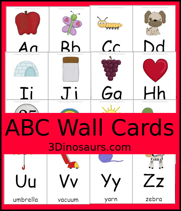 FREE ABC Wall Cards - all 26 letters wall cards to use with kids - 3Dinosaurs.com