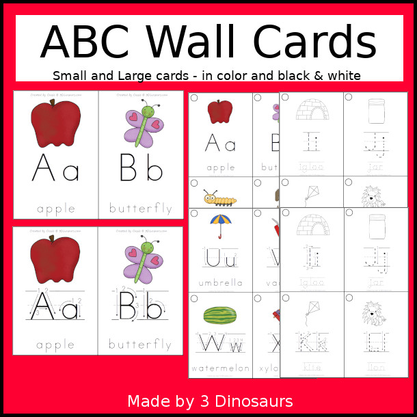 ABC Wall Cards Collection - they come in color and black and white. They come in two different sizes and two types of each wall cards. The black and white has tracing of the letters - 3Dinosaurs.com