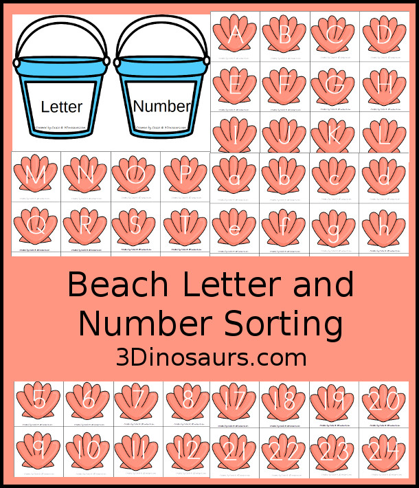 Free Beach Themed Number & Letter Sorting - All 26 letters with uppercase and lowercase options and nubmers 1 to 24 with sorting mats - 3Dinosaurs.com
