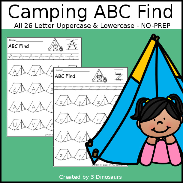 Easy No-Prep Camping ABC Find - easy no-prep printables with a fun camping tent theme 52 pages with uppercase and lowercase $ - 3Dinosaurs.com
