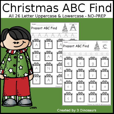 Christmas ABC Find - 3Dinosaurs.com