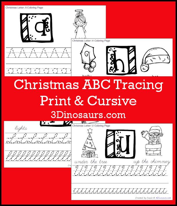 Fun Christmas Themed ABC Tracing With Print & Cursive