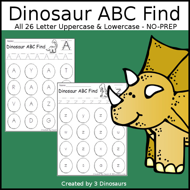 Easy No-Prep Dinosaur Find - easy no-prep printables with a fun dinosaur egg theme 52 pages with uppercase and lowercase $ - 3Dinosaurs.com