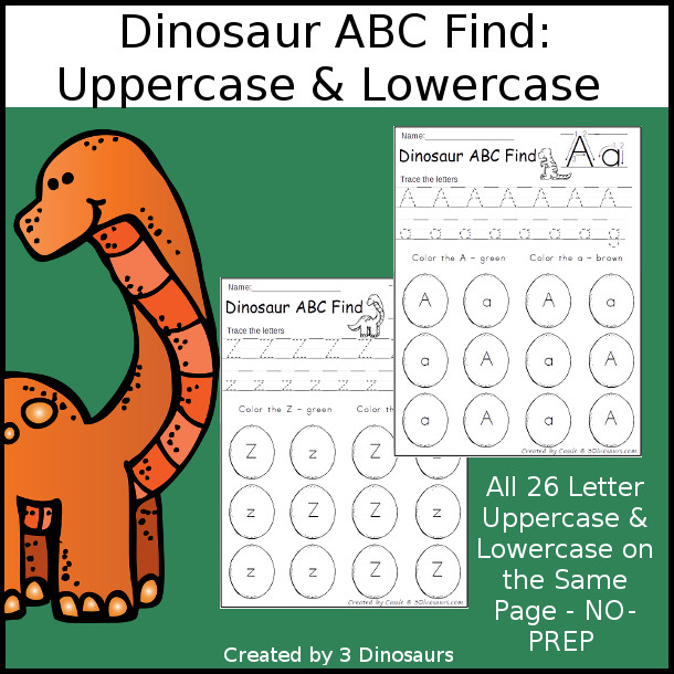 Easy No-Prep Dinosaur ABC Find:  Uppercase & Lowercase - easy no-prep printables with a fun dinosaur theme 26 pages with uppercase and lowercase together $ - 3Dinosaurs.com