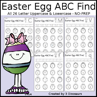 Easter Egg ABC Find: Uppercase or Lowercase with tracing $ - 3Dinosaurs.com