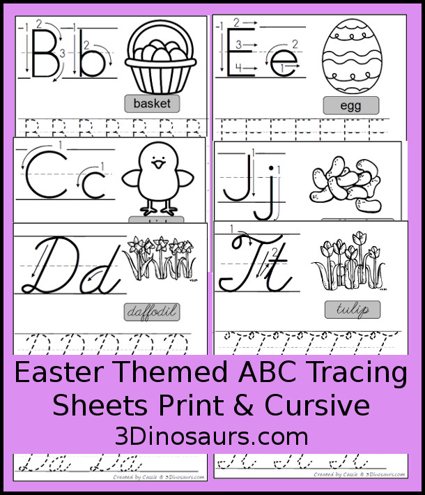 Free Easter Themed ABC Tracing Sheets In Print and Cursive - 7 Easter words in print and cursive - 3Dinosaurs.com #freeprintable #abcsforkids #easterprintables