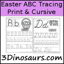 3 dinosaurs abc printables easter abc themed tracing sheets print cursive altavistaventures Images