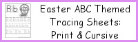 Easter ABC Themed Tracing Sheets: Print & Cursive
